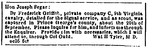 personal ad to Joseph Segar, Richmond Enquirer newspaper advertisement 27 October 1864