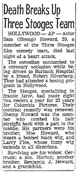 obituary for Sam (Shemp) Howard, Sacramento Bee newspaper article 23 November 1955