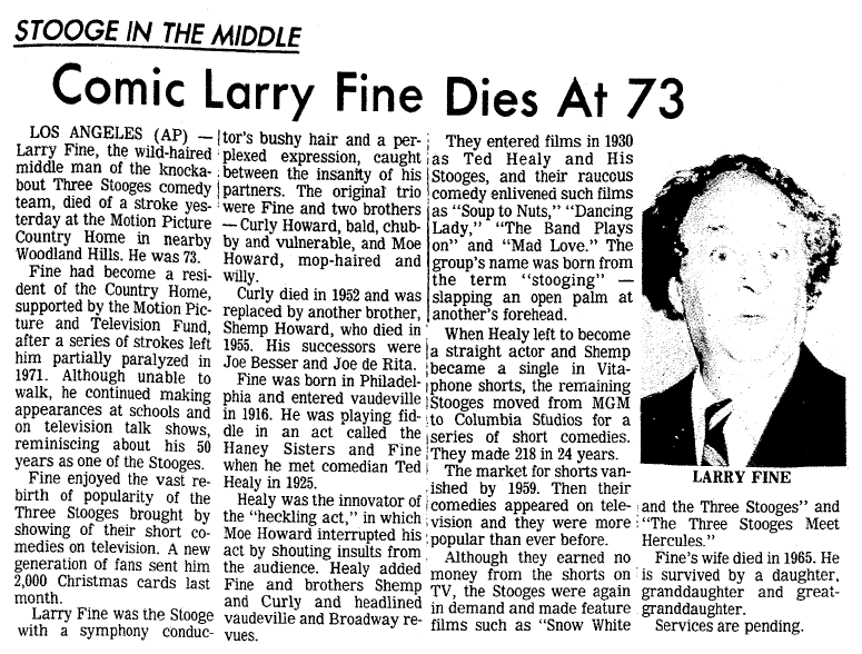 obituary for Larry Fine, San Diego Union newspaper article 25 January 1975