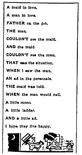 a personal ad containing a love poem, San Jose Mercury News newspaper advertisement 4 September 1915