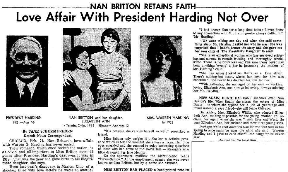 article about Nan Britton's affair with President Harding, Seattle Daily Times newspaper article 24 February 1965