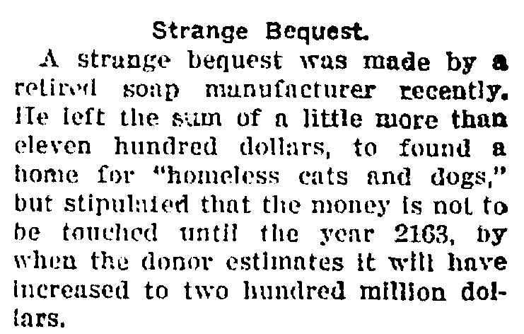 article about a bequest to establish a cat and dog shelter, St. Albans Daily Messenger newspaper article 18 July 1918