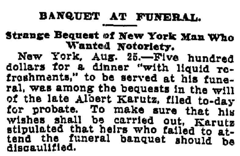 article about Albert Karutz's funeral banquet, Times-Picayune newspaper article 26 August 1909