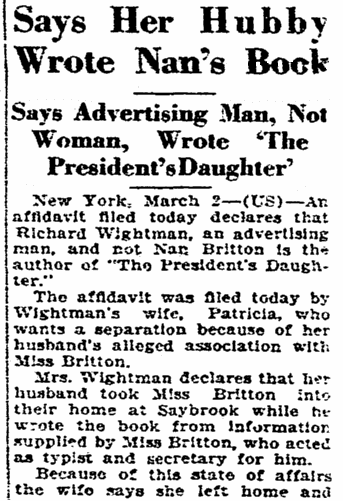 "article about Richard Wightman ghost-writing Nan Britton's book ""The President's Daughter,"" Winston-Salem Journal newspaper article 3 March 1928"