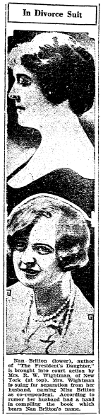 article about Nan Britton being involved in the Wightman divorce, Winston-Salem Journal newspaper article 26 March 1928