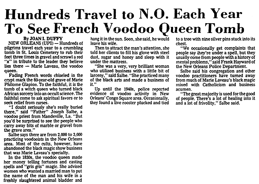 article about Marie Laveau's tomb in New Orleans, Advocate newspaper article10 August 1976