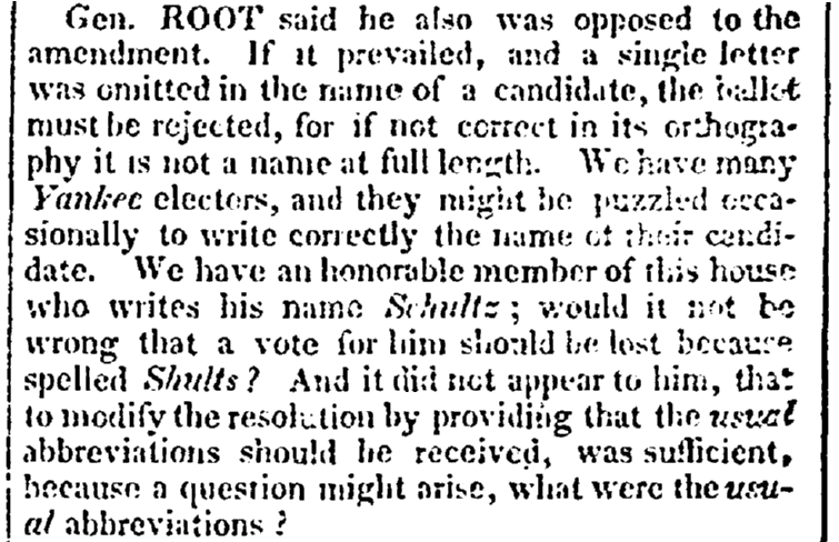 article about legislation concerning the use of abbreviations, Albany Argus newspaper article 7 February 1826