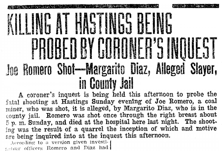 article about Joe Romero's murder, Anunciador newspaper article 4 March 1922