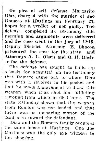 article about Margarito Diaz's trial for killing Joe Romero, Anunciador newspaper article 1 April 1922