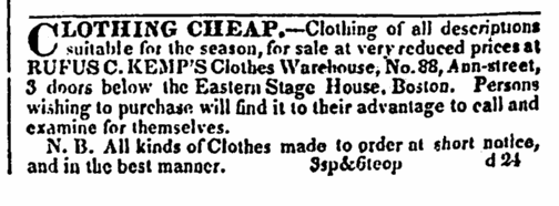 ad for Rufus C. Kemp's Clothes Warehouse, Boston Daily Advertiser newspaper advertisement 2 January 1833