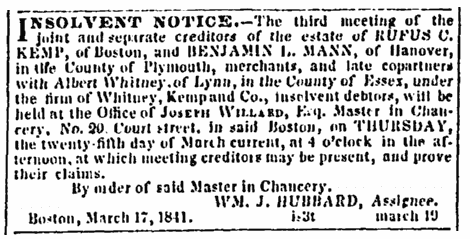 article about the insolvency of Whitney, Kemp and Co., Boston Daily Advertiser newspaper article 22 March 1841