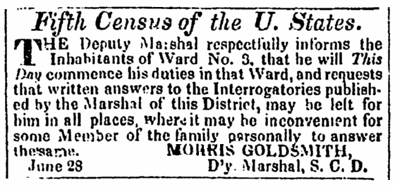 classified ad for the Fifth Census, Charleston Courier newspaper advertisement 29 July 1830