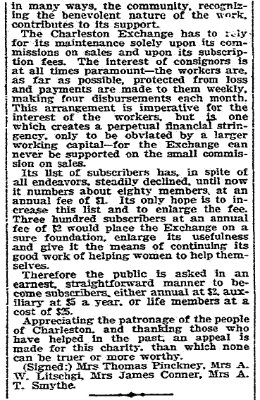 letter to the editor about the Charleston Woman's Exchange, Charleston News and Courier newspaper article 23 January 1907