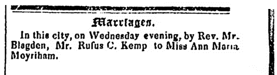 wedding notice for Rufus C. Kemp and Ann Moynihan, Columbian Centinel newspaper article 6 September 1834