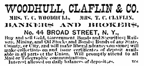 ad for Woodhull, Claflin & Company, Commercial Advertiser newspaper advertisement 24 February 1870