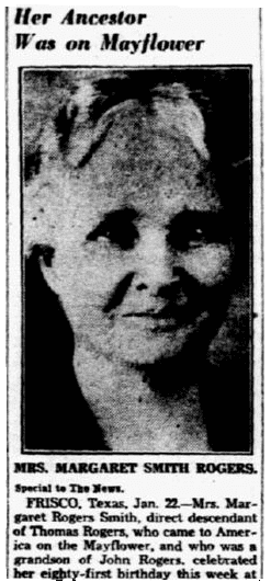 obituary for Margaret (Rogers) Smith, Dallas Morning News newspaper article 23 January 1938