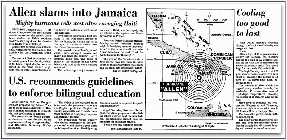 [Hurricane} Allen Slams into Jamaica, Dallas Morning News newspaper article 6 August 1980