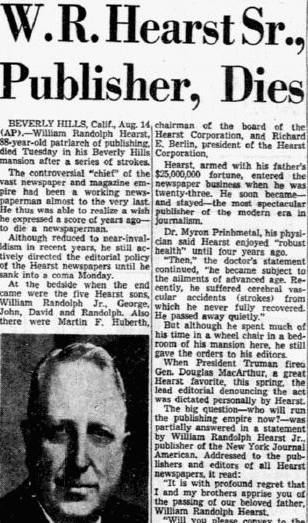 obituary for William Randolph Hearst, Dallas Morning News newspaper article 15 August 1951