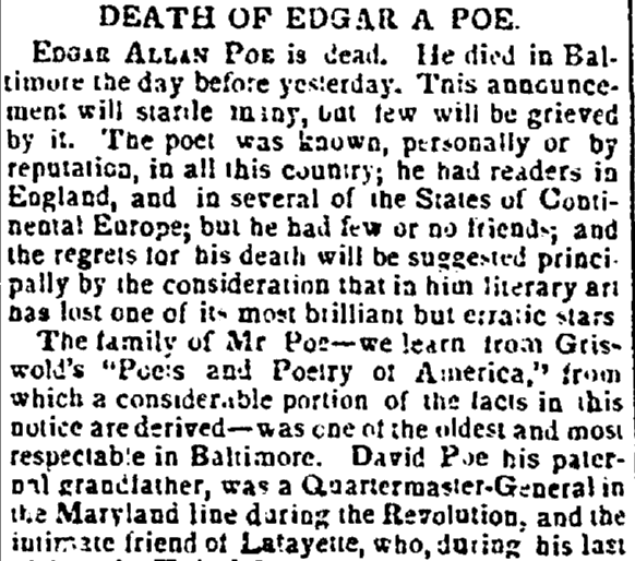 obituary for Edgar Allen Poe, Enquirer newspaper article 16 October 1849