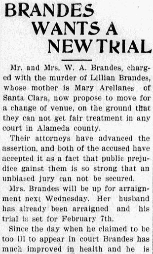 Brandes Wants a New Trial, Evening News newspaper article 30 January 1899