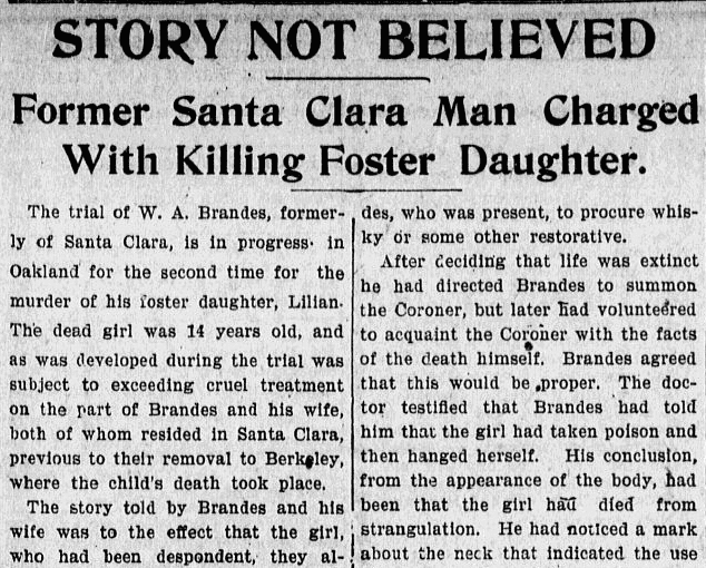 article about the trial of W. Brandes for murdering Lillian Brandes, Evening News newspaper article 31 May 1901