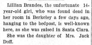 obituary for Lillian Brandes, Evening News newspaper article 28 November 1898
