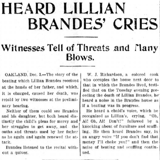 testimony about the murder of Lillian Brandes, Evening News newspaper article 3 December 1898