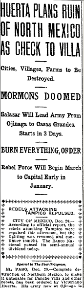 Huerta Plans Ruin of North Mexico as Check to Villa, Fort Worth Star-Telegram newspaper article 21 December 1913