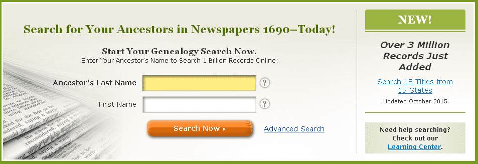 screenshot of GenealogyBank's home page showing the announcement that three million more genealogy records were added in October