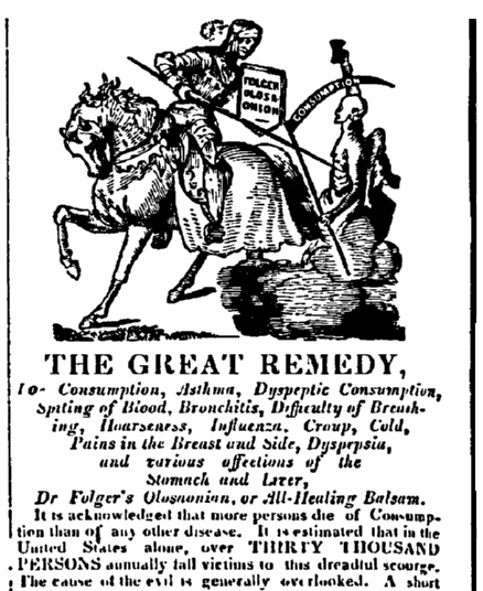 "ad for Dr. Folger's ""All-Healing Balsam,"" Gloucester Telegraph newspaper advertisement 29 October 1845"