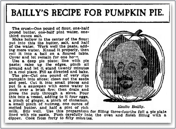 Bailly's Recipe for Pumpkin Pie, Grand Rapids Press newspaper article 15 November 1905