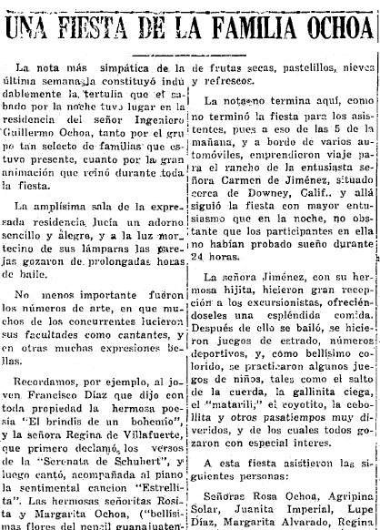 "a Spanish-language article about the ""Familia Ochoa,"" Heraldo de Mexico newspaper article 12 September 1928"