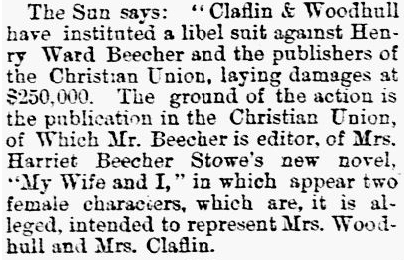 article about Victoria Claflin Woodhull and her sister Tennessee suing Henry Ward Beecher for libel, Houston Daily Union newspaper article 28 June 1871