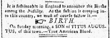birth announcement for the Augustus family, Impartial Register newspaper article 23 October 1800