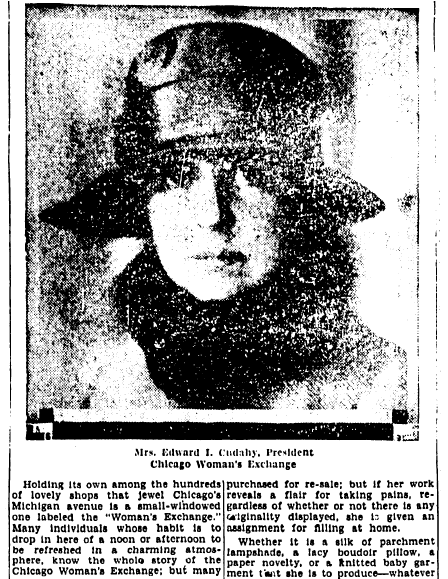 article about the Chicago Woman's Exchange, Lexington Leader newspaper article 23 September 1928