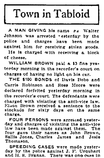police blotter, Macon Telegraph newspaper article 21 May 1918