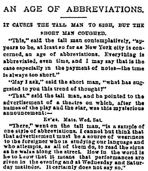 An Age of Abbreviations, New York Herald newspaper article 13 December 1891
