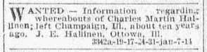 missing person ad for Charles Martin Hallinen, Omaha World-Herald newspaper advertisement 14 January 1900