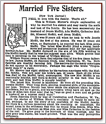 [William Mercer] Married Five Sisters, Omaha World-Herald newspaper article 8 October 1899