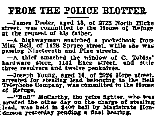 police blotter, Philadelphia Inquirer newspaper article 2 February 1900