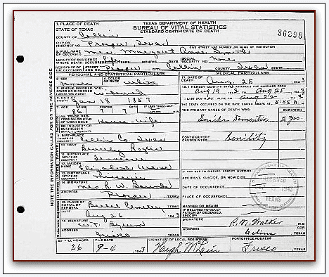 death certificate for Margaret (Rogers) Smith
