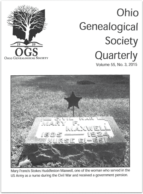 photo of the cover of the Ohio Genealogical Society Quarterly magazine