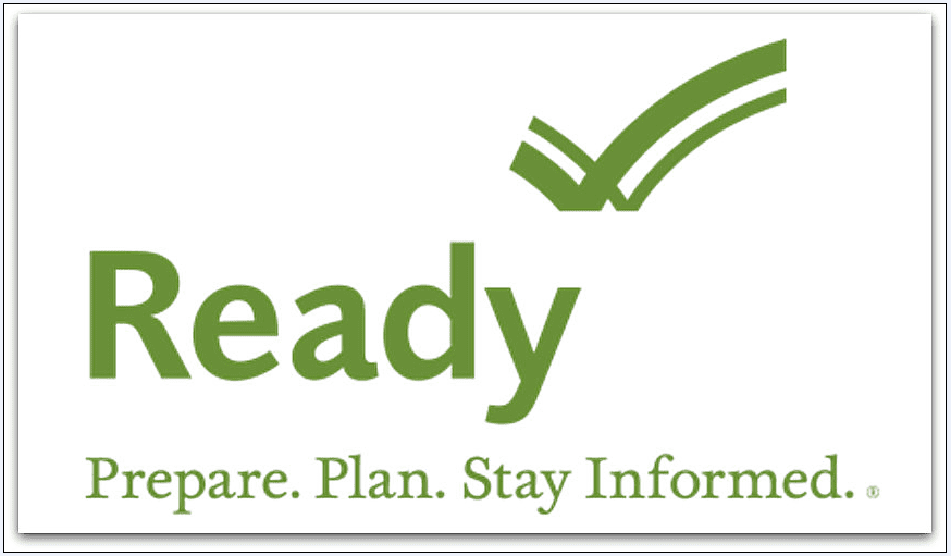 "screenshot of the ""Ready"" logo for hurricane preparedness from the Department of Homeland Security"