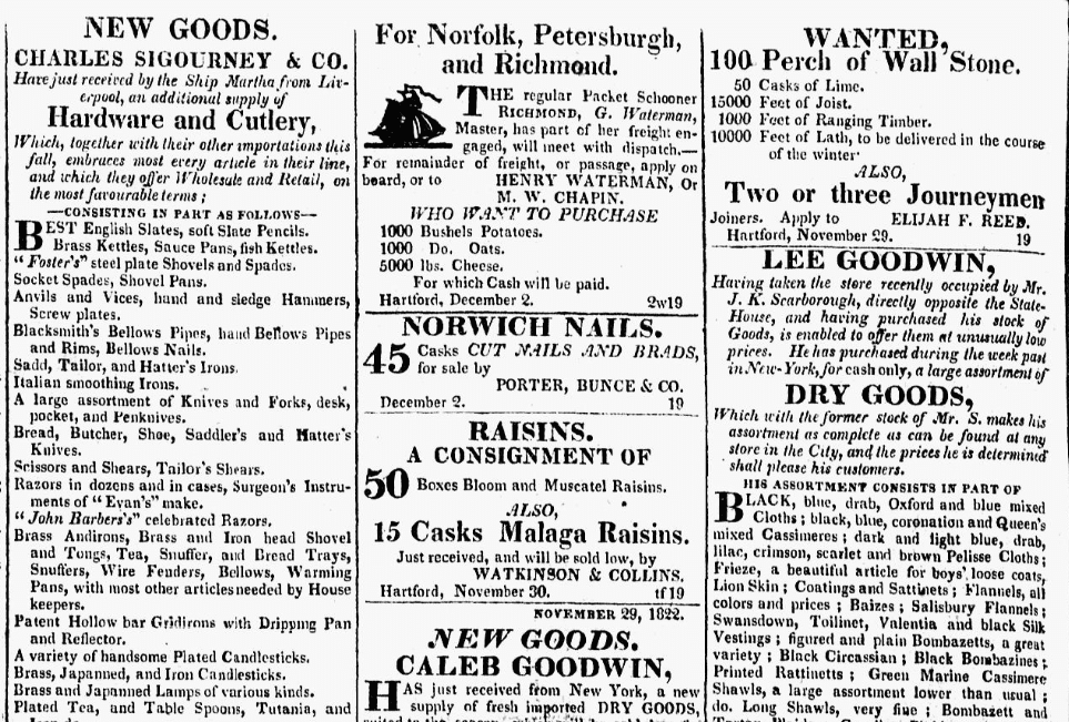 Connecticut Courant (Hartford, Connecticut), 10 December 1822, page 4