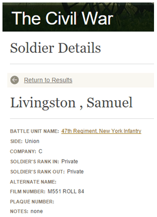 listing for Samuel Livingston, National Park Service Soldiers and Sailors Database