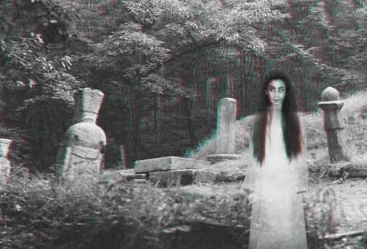 illustration of a ghost in a cemetery