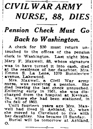obituary for Mary Maxwell, Plain Dealer newspaper article 13 January 1924