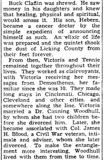 article about Victoria Claflin Woodhull and her family, Plain Dealer newspaper article 23 September 1938