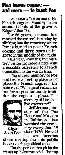 "article about the mysterious ""Poe Toaster"" who secretly visited Edgar Allan Poe's tomb for 75 years, Register Star newspaper article 23 January 2004"