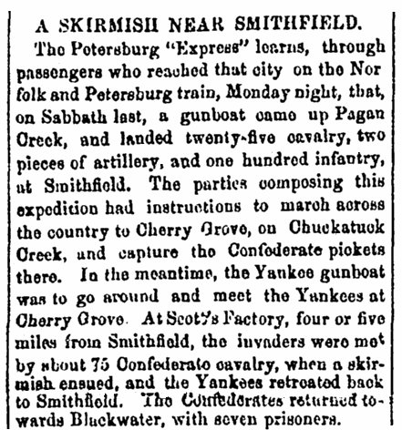 article about a Civil War skirmish near Smithfield, Virginia, Richmond Enquirer newspaper article 3 February 1864